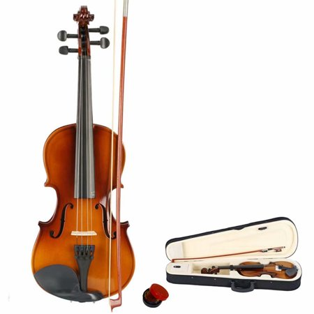New 3/4 Acoustic Violin Case Bow Rosin Natural