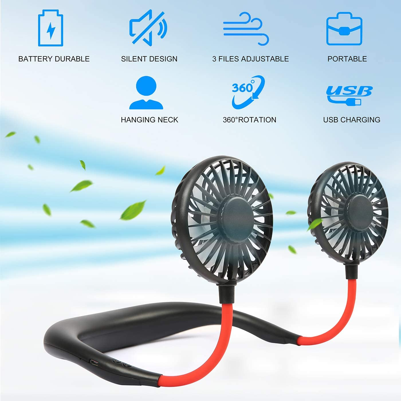 USB Cable Portable Hanging Neck Folding Fan Rechargeable Gift Mini FANS A8D0