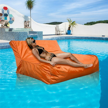 Waterproof Swimming Pool Floating Bean Bag Cover Soft Luxury Lounge Chair  Sofa for Reading Relaxing Indoor or Outdoor Use Orange
