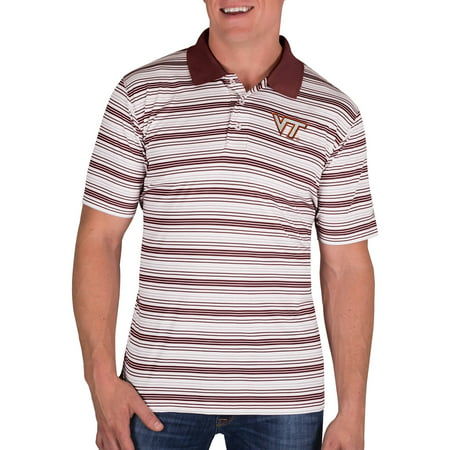 Maroon Striped Performance Polo - NCAA Virginia Tech Hokies Men's Classic-Fit Striped Polo Shirt