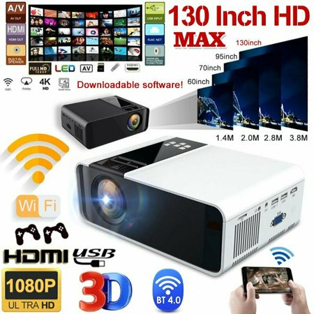 Portable HD 1080P Mini Wifi Bluetooth LED Movie Projector Home Theatre HDMI...