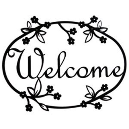 Angel Welcome Sign (VWI WEL-164 Floral Welcome Sign Powder Metal)