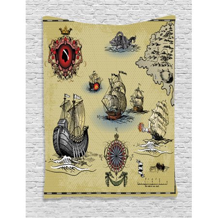 Hand Drawn Tapestry Wall Hanging Antique Old Plan Discovery Ship Pirate Wave Compass Navigation Geography Theme Image, Bedroom Living Room Dorm Decor, Beige Red Grey, by Ambesonne