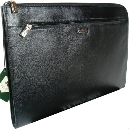 Visconti BOND - Black Leather Under Arm Folio, Portfolio File Case / (Leather File Case)