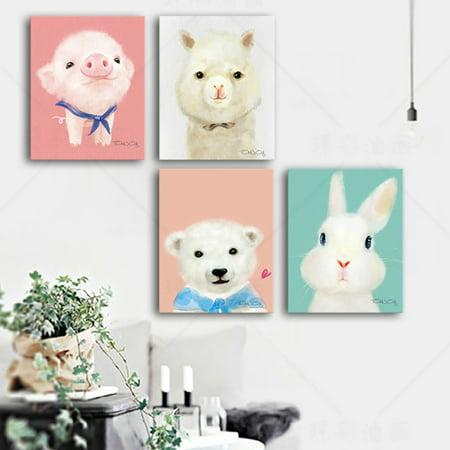 Heepo Oil Painting Cute Animal Penguin Bunny Bear Paint Frameless Home Wall - Animal Oil Painting
