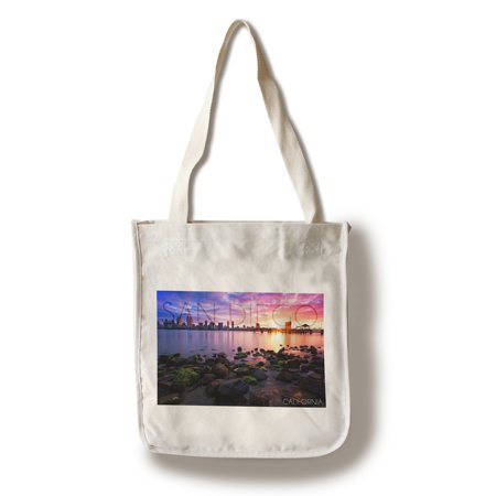 100 Total Bags - San Diego, California - Ocean & Skyline at Sunset - Lantern Press Artwork (100% Cotton Tote Bag - Reusable)