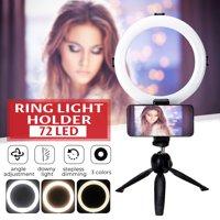 "Ring Light For Smart Phone, 8"" Mini Photography dimmable LED self-timer ring light mobile phone video live, 5800k studio light with mobile phone holder Tabletop Tripod"