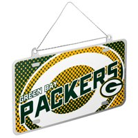 Green Bay Packers Official NFL 4 inch  x 2 inch  Metal License Plate Christmas Ornament by Forever Collectibles