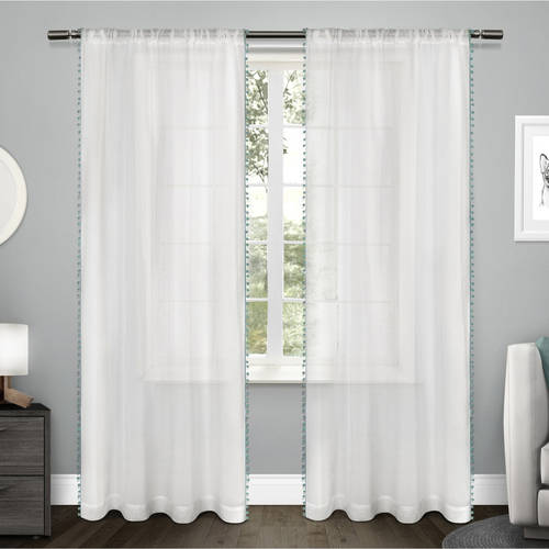 Exclusive Home Curtains 2 Pack Pom Pom Applique Bordered Textured Sheer Rod Pocket Curtain Panels