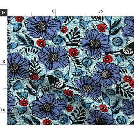 Vintage Floral Mod Tribal Purple Flowers Bird Fabric Printed by Spoonflower BTY