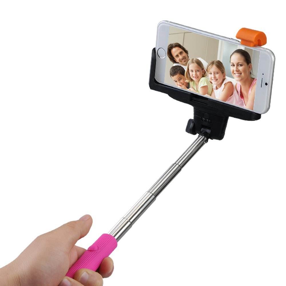 Mpow iSnap Pro 3-In-1 Self-portrait Monopod Extendable Selfie Stick-Pink