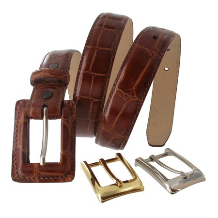 WCM Ladies Tan Nude Italian Genuine Leather Crocodile Grain Belt Interchangeable Buckle Size Medium Brown Crocodile Genuine Belt