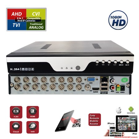 Evertech 16 Channel Digital Video Recorder H.264 Hybrid 4in1 AHD TVI CVI Analog CCTV Security Camera DVR  (Hard Drive for recording not included)