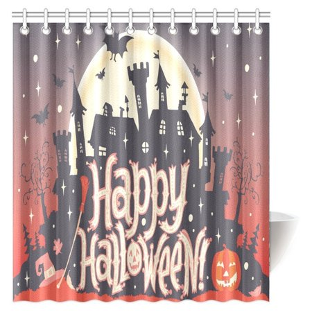 Treats For Kids Halloween Party (MYPOP Halloween Decorations Shower Curtain, Gothic Scene With Halloween Haunted House Party Decor Trick Or Treat For Kids Fabric Bathroom Decor Set with Hooks, 66 X 72)
