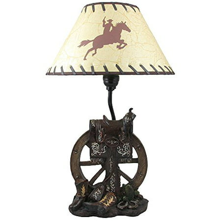 Horse Saddle on Wagon Wheel Desktop or Table Lamp in Gifts for Cowboys and Western Home Decor Accents ()