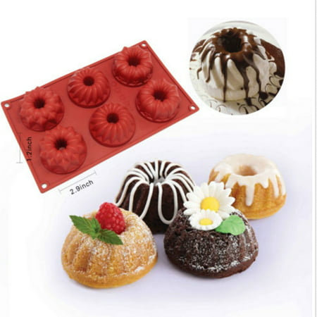 iClover 6-Cavity Food Grade Silicon Mold,Vermilion Flower Jelly Cake Mold Pudding Mold and Muffin Cups and Bakeware Baking Pan for Birthday Party Valentine's Day Gift (Valentine Baking Supplies)