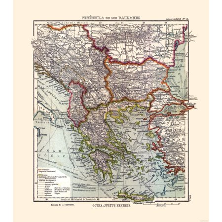 International Map - Balkan Peninsula - Perthes 1921 - 23 x 25.95 ...