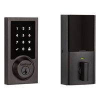 Kwikset 915 Touchscreen Contemporary Electronic Deadbolt featuring SmartKey Security in Satin Nickel