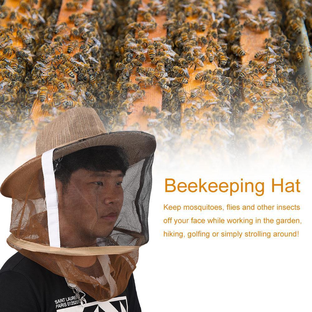 Beekeep Beekeeper Cowboy Hat Mosquito Bee Insect Net Face Head Protector TDO