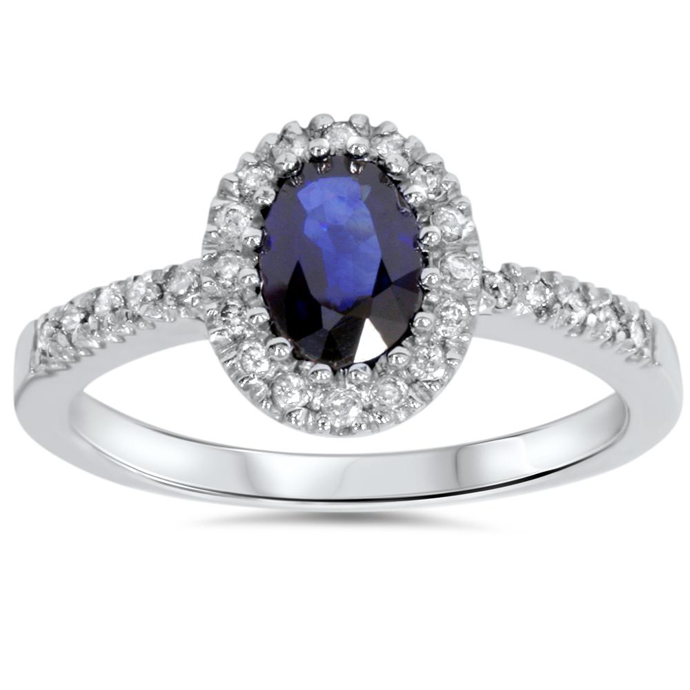 Pompeii3 3/4ct Oval Blue Sapphire Halo Diamond Ring 14K W...