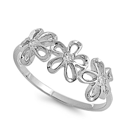 Beverly Clark Tres Beau Ring - Tres Plumeria Flower Cubic Zirconia Ring Sterling Silver 925