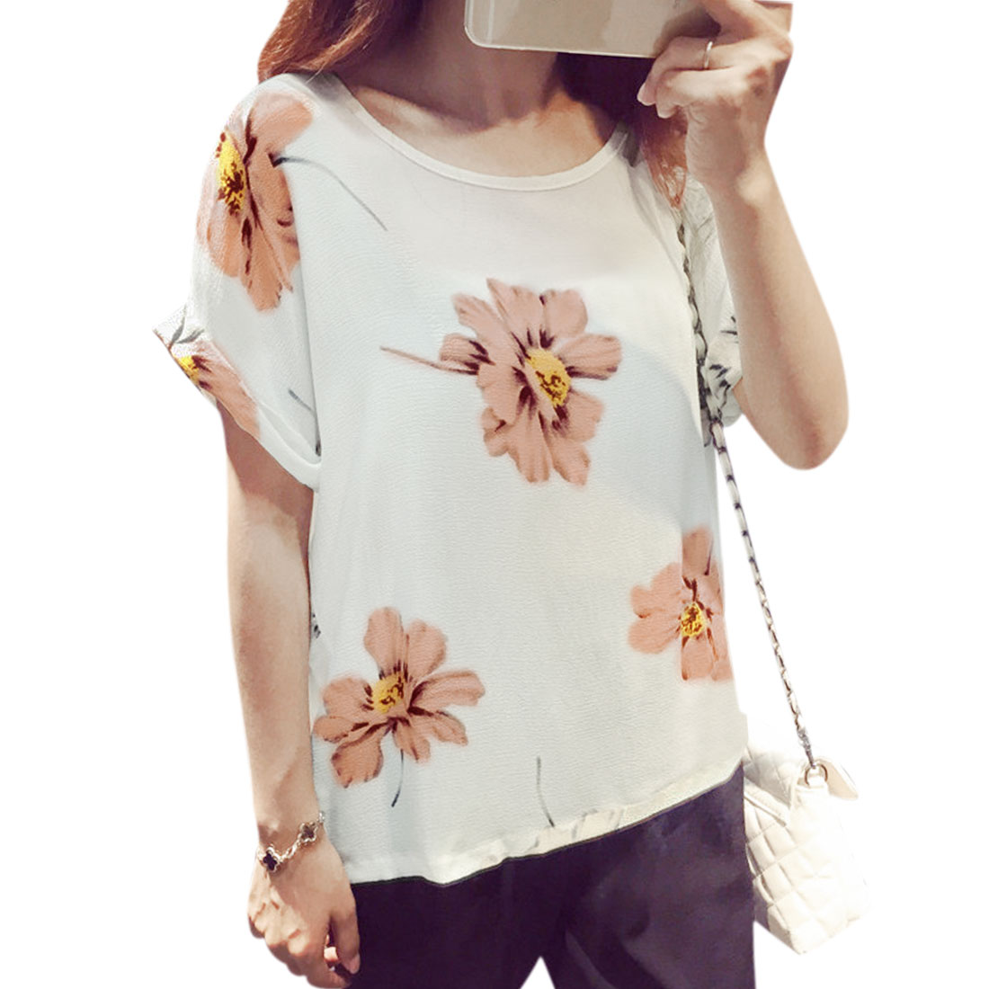 Ladies Cuffed Sleeves Floral Pattern Pullover Casual Blouse White XS