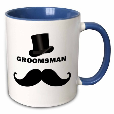3dRose Groomsman with Top Hat�and Mustache - Two Tone Blue Mug, 11-ounce