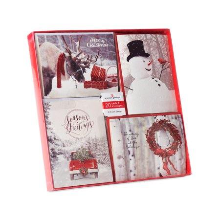 American Greetings 20-Count Christmas Outdoor Photos Bulk Assorted Cards and White Envelopes ()