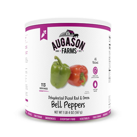 Halloween Bell Peppers (Augason Farms Dehydrated Diced Red & Green Bell Peppers 1 lb 4 oz No. 10)