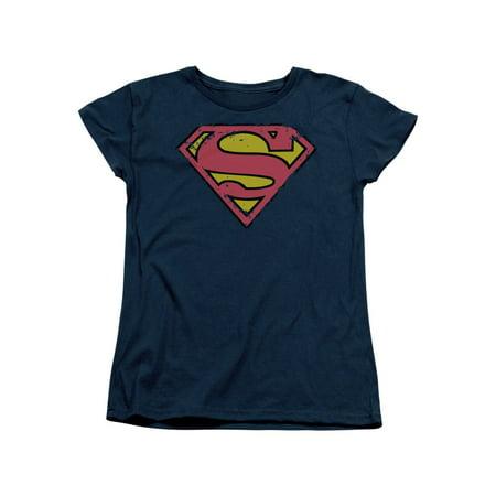 Superman DC Comics Superhero Rough Classic S Shield Logo Women's T-Shirt Tee for $<!---->