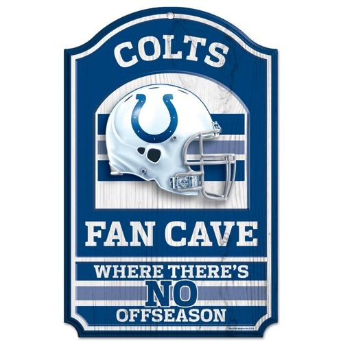 "Indianapolis Colts Wood Sign - 11""x17"" Fan Cave Design by Wincraft, Inc."