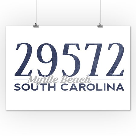 Myrtle Beach South Carolina 29572 Zip Code Blue Lantern Press Artwork 12x18 Art Print