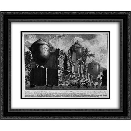 Giovanni Battista Piranesi 2x Matted 24x20 Framed Art Print 'The Roman antiquities, t. 2, Plate LVII. Urns, memorials and vases of marble ashtray in the Villa Corsini outside Porta S. Pancrazio'