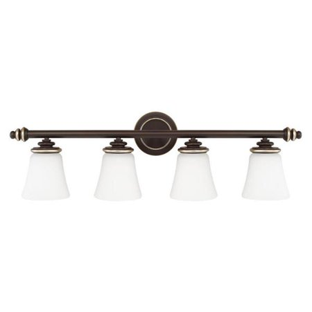 Capital Lighting Asher   Four Light Bath Vanity  Champagne Bronze Finish With Soft White Glass