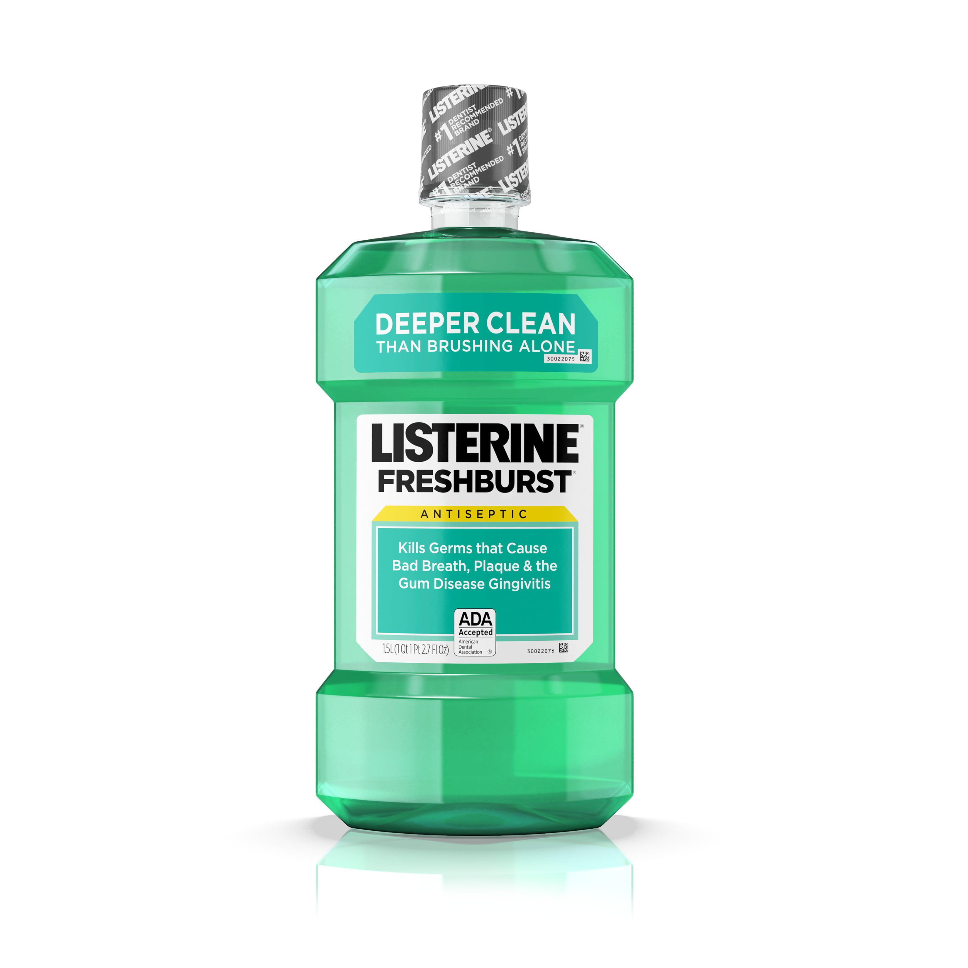 Listerine Freshburst Antiseptic Mouthwash for Bad Breath, 1.5 L