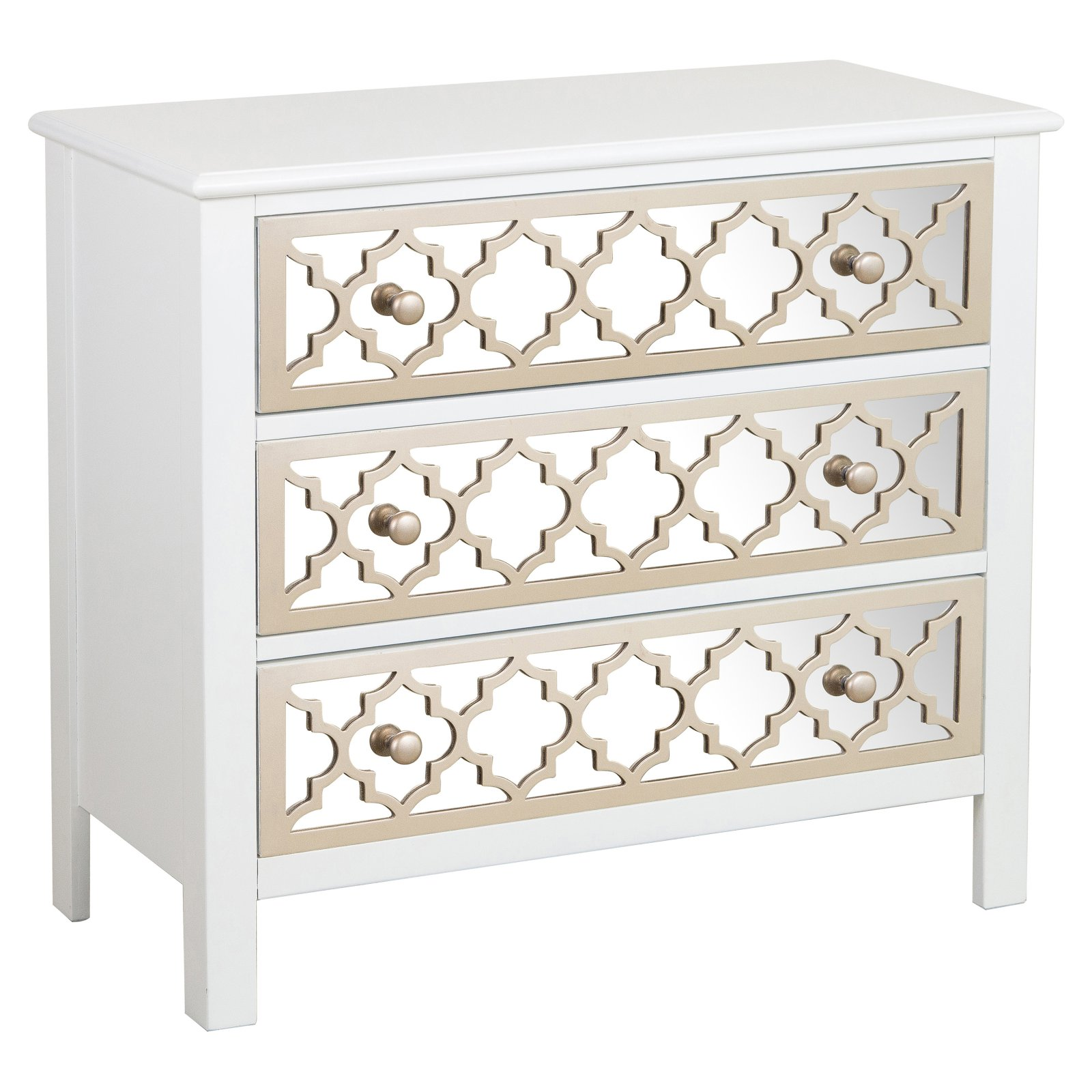 Right2Home White 3 Drawer Decorative Chest with Mirrored Drawer Front