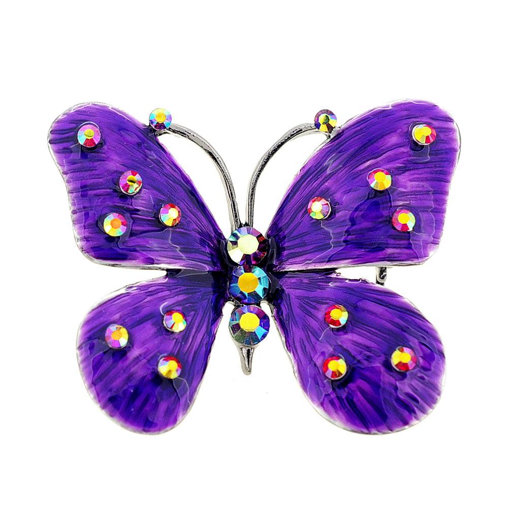 Purple Enamel Butterfly Pin Brooch and Pendant by