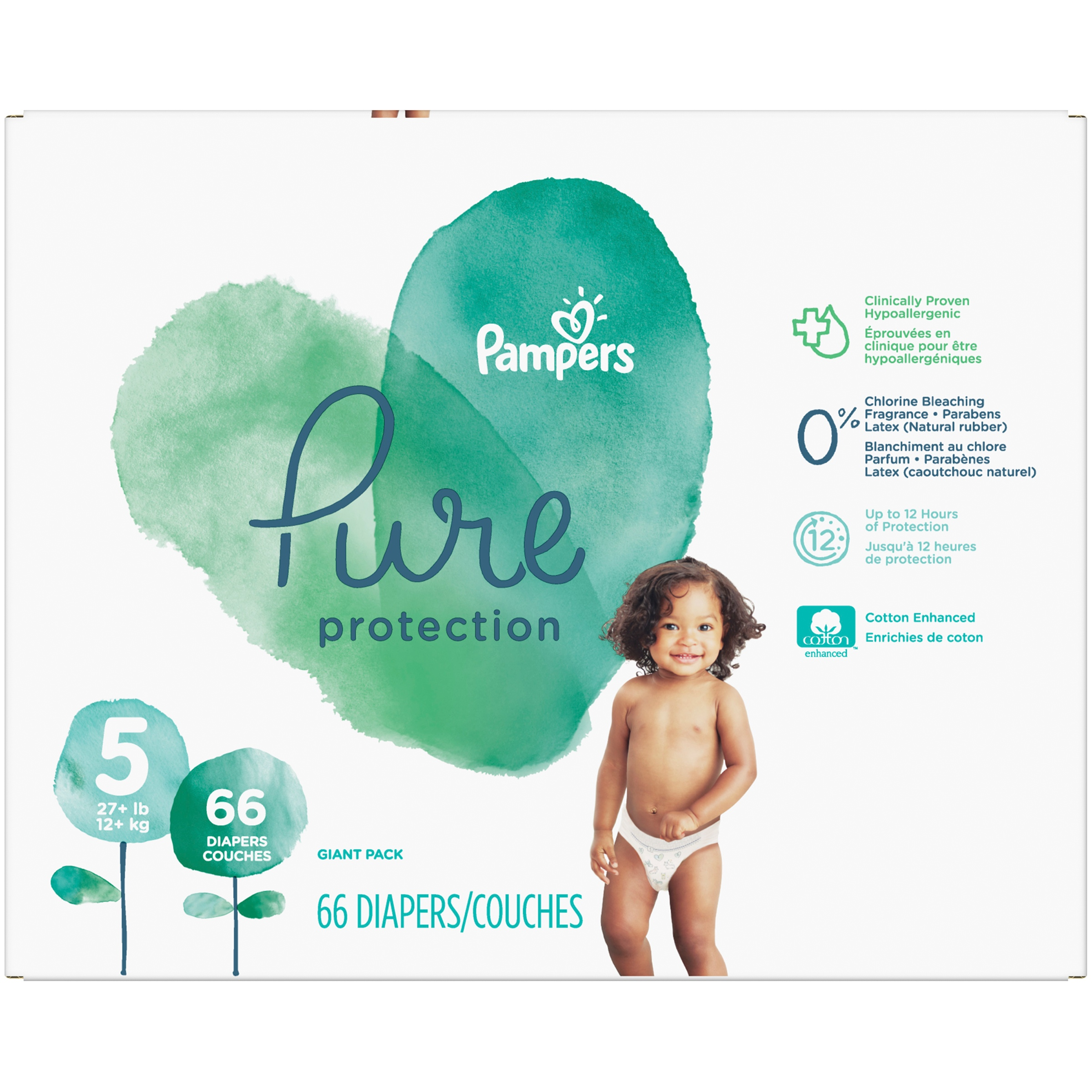 Pampers Pure Protection Diapers Size 5 66 Count