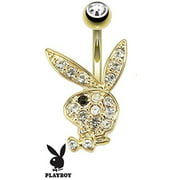 Multi Paved Gems on Playboy Bunny 14kt Gold Plated Navel Ring Belly Button Ring