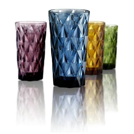 Artland Highgate 15oz Glasses, Set of 4, Assorted Color (Blue, Green, Purple, Amber) - Blue Drinking Glasses