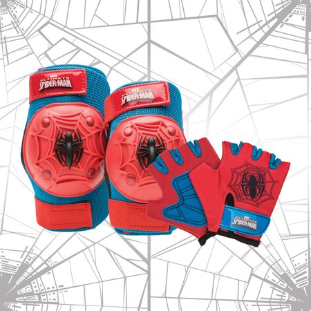 Bell Marvel Spider-Man Protective Pad and Glove Set, Red/Blue ()