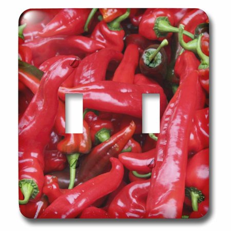 3dRose Red Hot Peppers - chili, chili pepper, chilli, chilli peppers, pepper, peppers, red - Double Toggle Switch