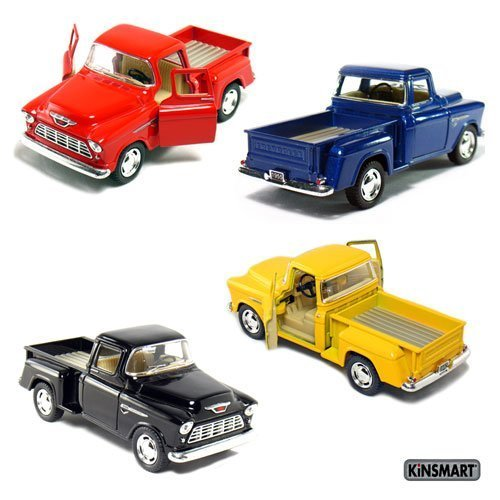 Set of 4 die-cast Chevy Stepside Pick-Up 1/32 Scale, Pull Back Action Cars., 5 die cast metal car 1/32 scale. By Kinsmart From USA