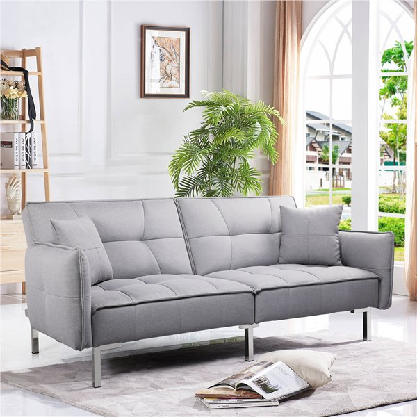 Topeakmart Futon Sofa Bed Adjustable Backrest Sleeper Sofa with Fabric Cover for Living Room, Gray