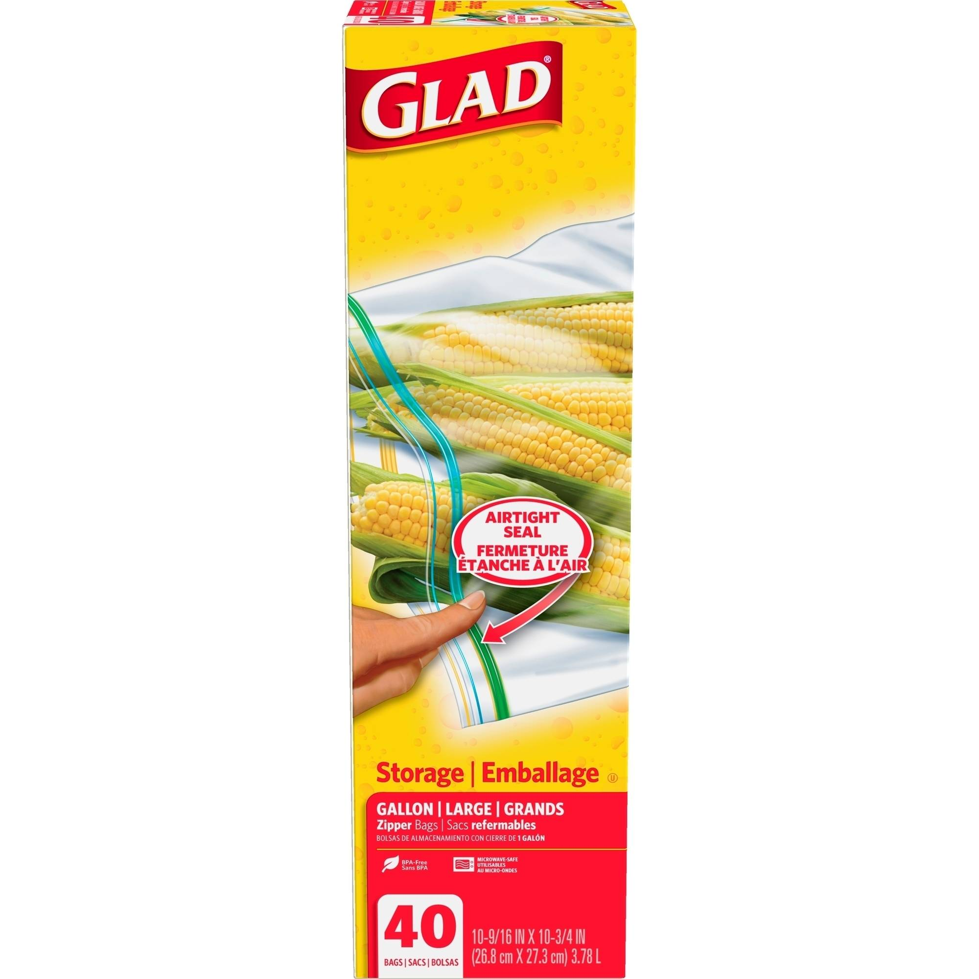 Glad Zipper Food Storage Bags, Gallon, 40 count