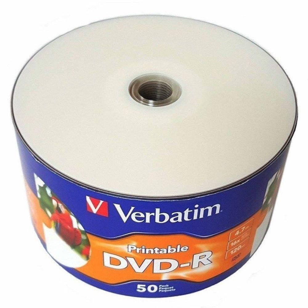 50 Pack Verbatim DVD-R DVDR White Inkjet Hub Printable 16X 4.7GB 120min Blank Media Disc