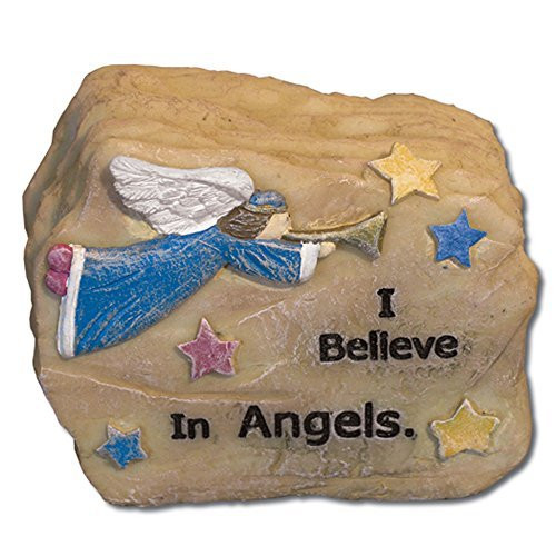 Angels Message Rock I Believe in Angels Potted Plant Decoration Desk Paperweight 2.5 Inch