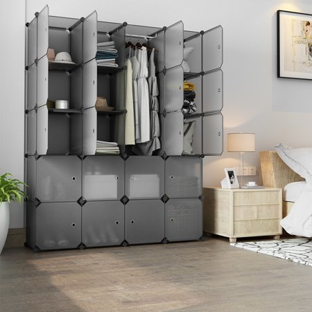 Stackable Corner Shelf (LANGRIA 20 Cube Organizer Stackable Plastic Cube Storage Shelves Design Multifunctional Modular Closet Cabinet with Hanging Rod for Clothes Shoes Toys Bedroom Living Room )