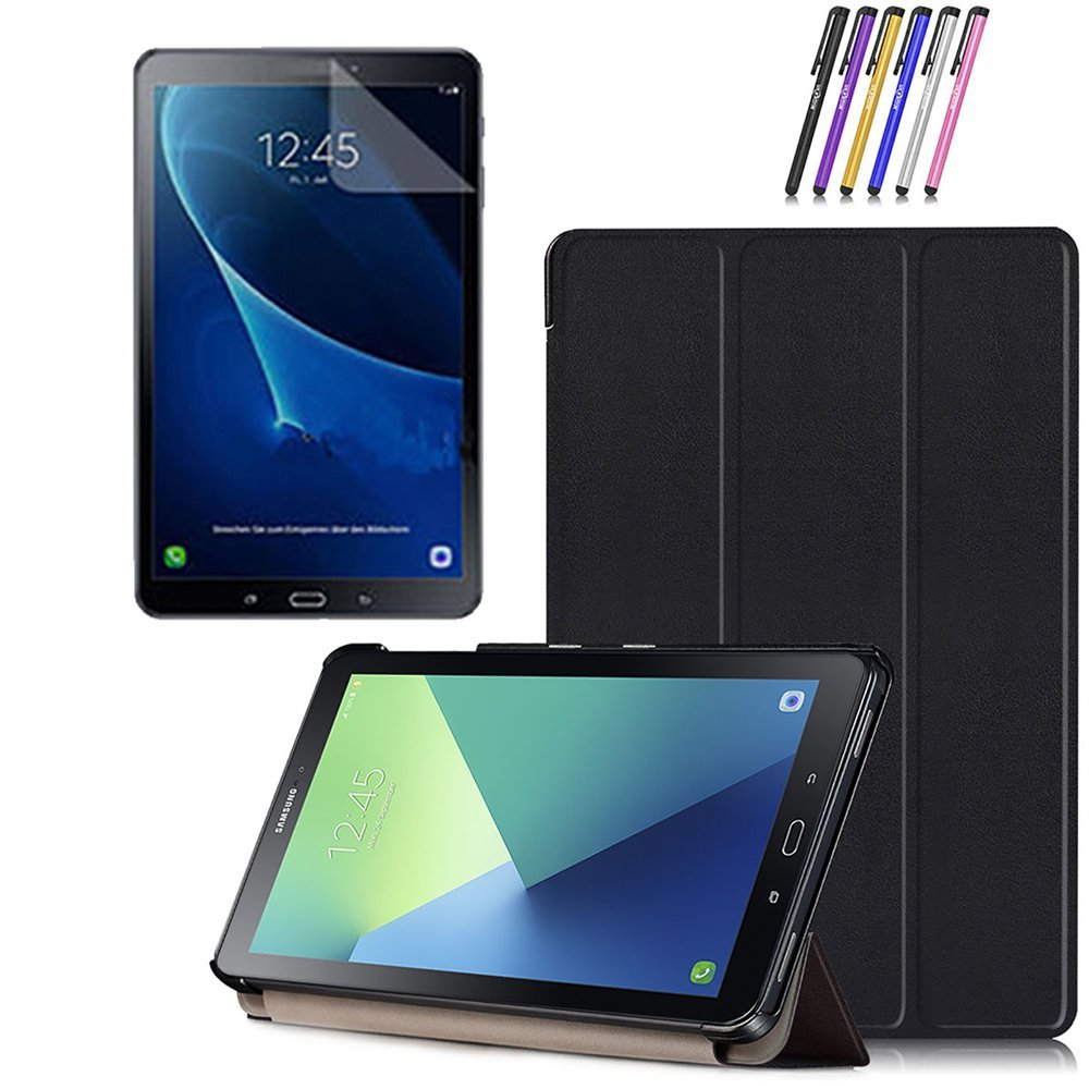 Mignova Galaxy Tab A 10.1 with S pen case - Ultra Slim Smart Cover Case for Samsung Galaxy Tab A 10.1 with S pen P580 / P585 Tablet + Screen Protector Film and Stylus Pen (Black)