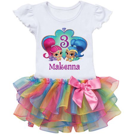 Personalized Shimmer And Shine Birthday Wish Rainbow Tutu Tee -2T, 3T, 4T, 5/6T